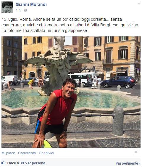 Gianni Morandi su Facebook