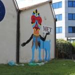 Ultimi ritocchi al murale di Dem per il Metastasio di Prato (foto)