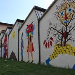 Uno scorcio del murale di Dem per il Teatro Metastasio