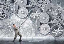Man make gears mechanism work