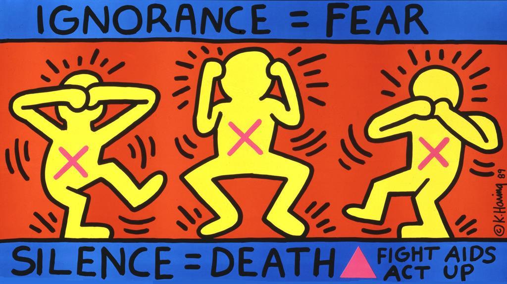 Lo spolight dell'Oms per la giornata mondiale dell'Aids su disegno di Haring