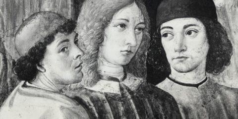 Marsilio Ficino, Giovanni Pico della Mirandola e Agnolo Poliziano, ritratti da Cosimo Rosselli