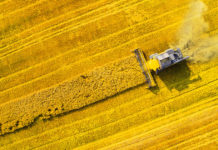 Agricoltura trattore in un campo dall'alto - Slow Food