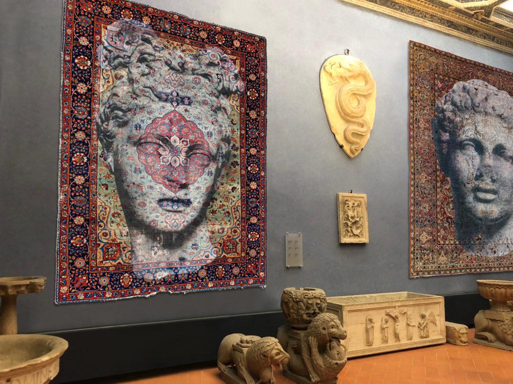 Luca Pignatelli - Persepoli, 2018, tecnica mista su tappeto persiano, cm 345 x 232