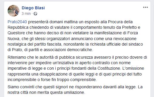 Forza Nuova a Prato, annunciato esposto alla Procura della Repubblica