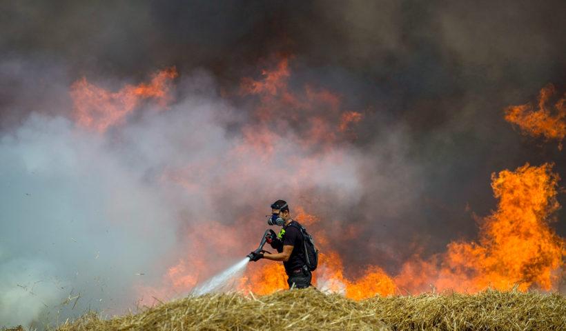 Un vigile del fuoco al lavoro in un campo