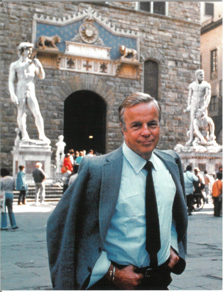 Franco Zeffirelli in piazza della Signoria