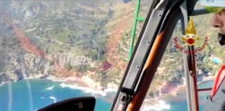 Frame video elicottero vigili del fuoco all'Argentario