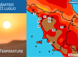 Meteo caldo temperature toscana