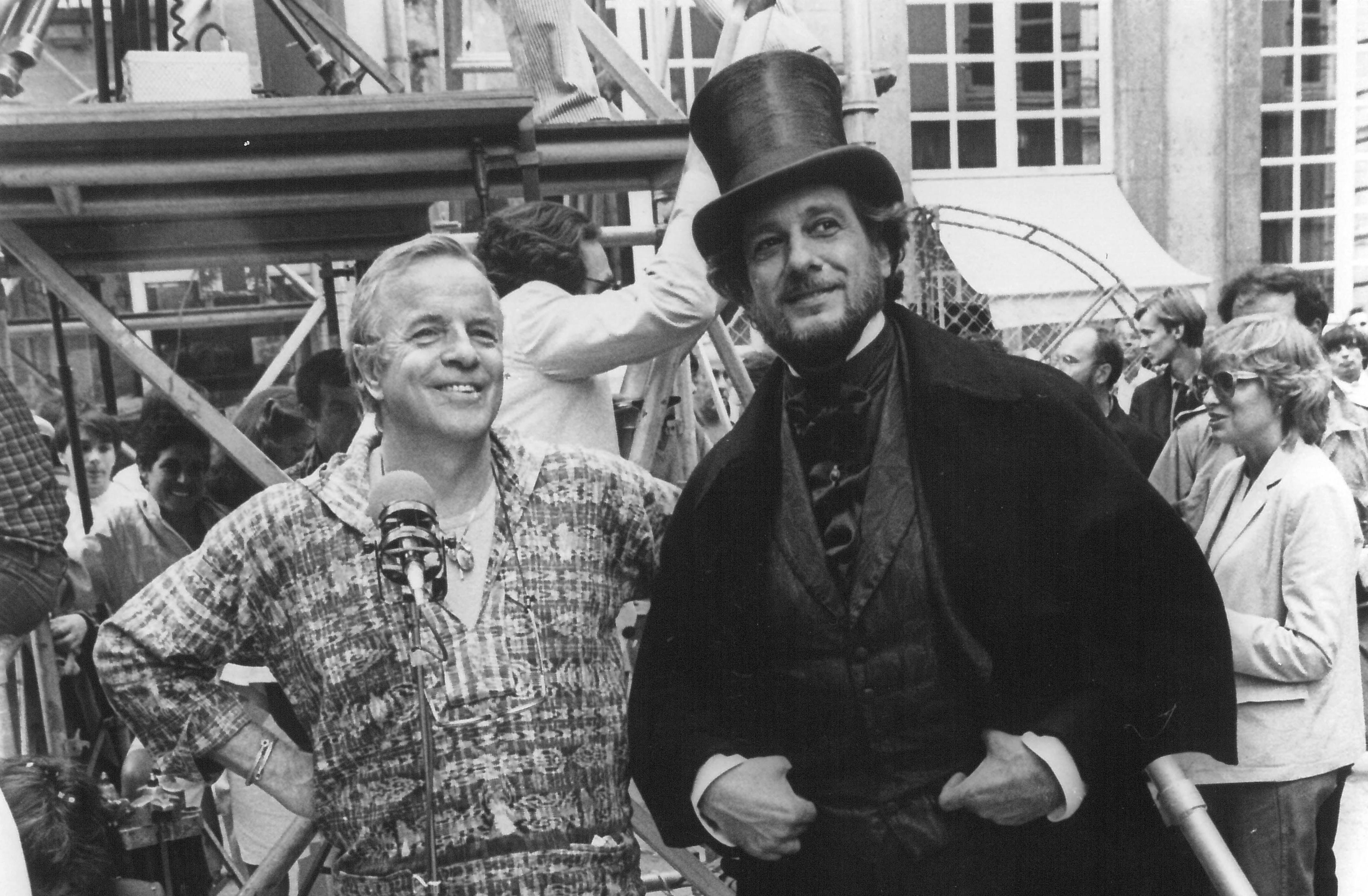 Franco Zeffirelli e Placido Domingo sul set del film Traviata del 1982