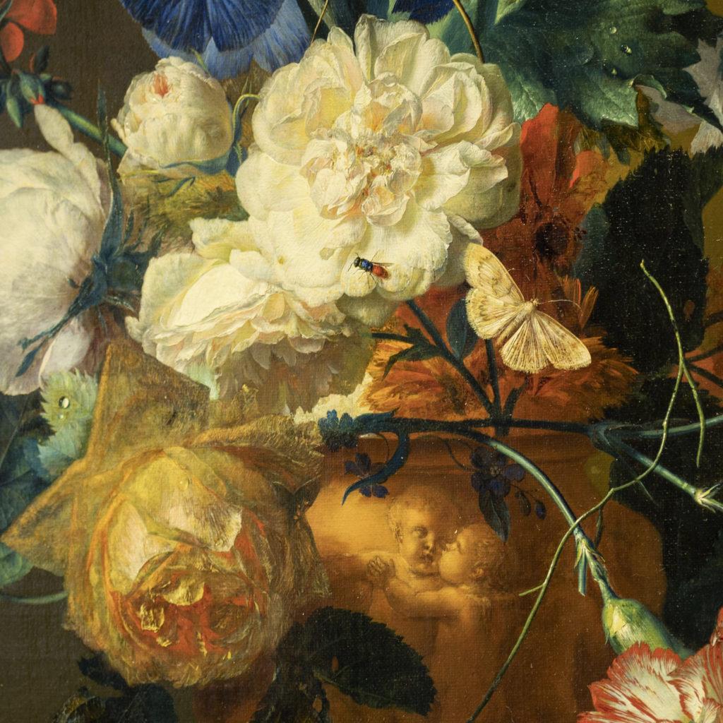 Un particolare del Vaso di Fiori di Jan van Huysum
