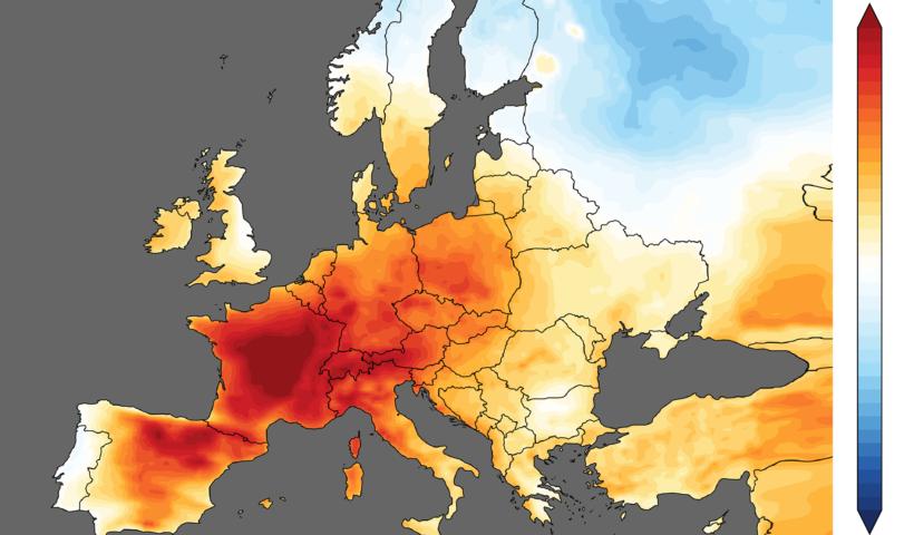 Mappa d'Europa con valori del caldo