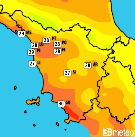 Temperature previste in Toscana mercoledì 10 luglio
