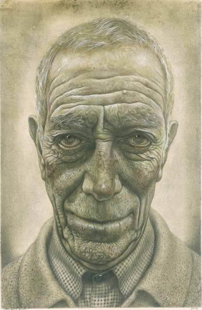 Un volto disegnato e dipinto a Andrea Martinelli, Palazzo Cucchiari, Carrara, 6 settembre 2019