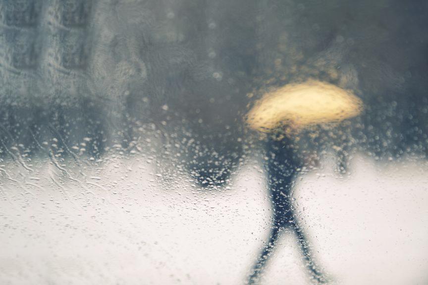 Donna sotto un ombrello
