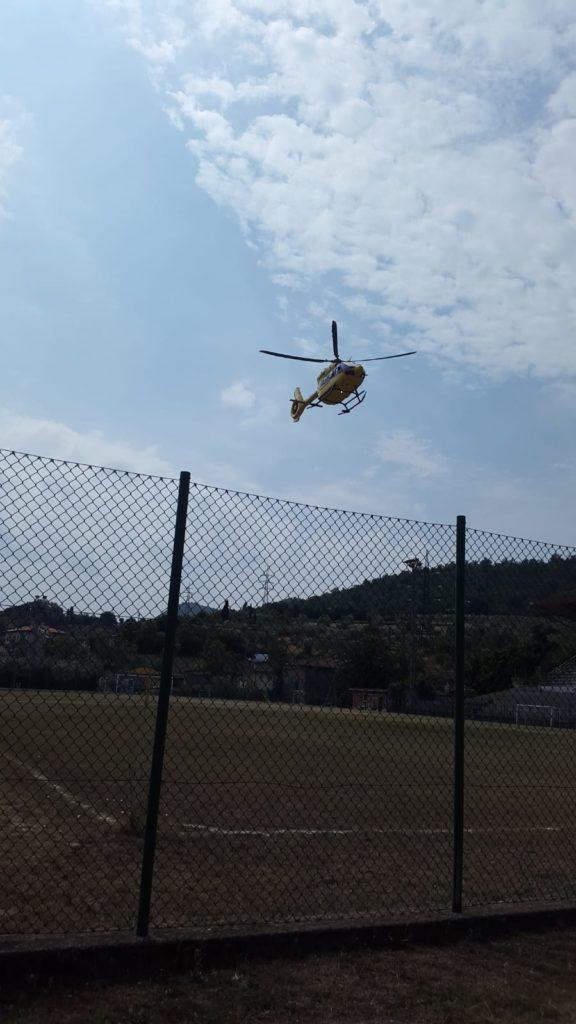 L'elicottero Pegaso atterra a Vaiano