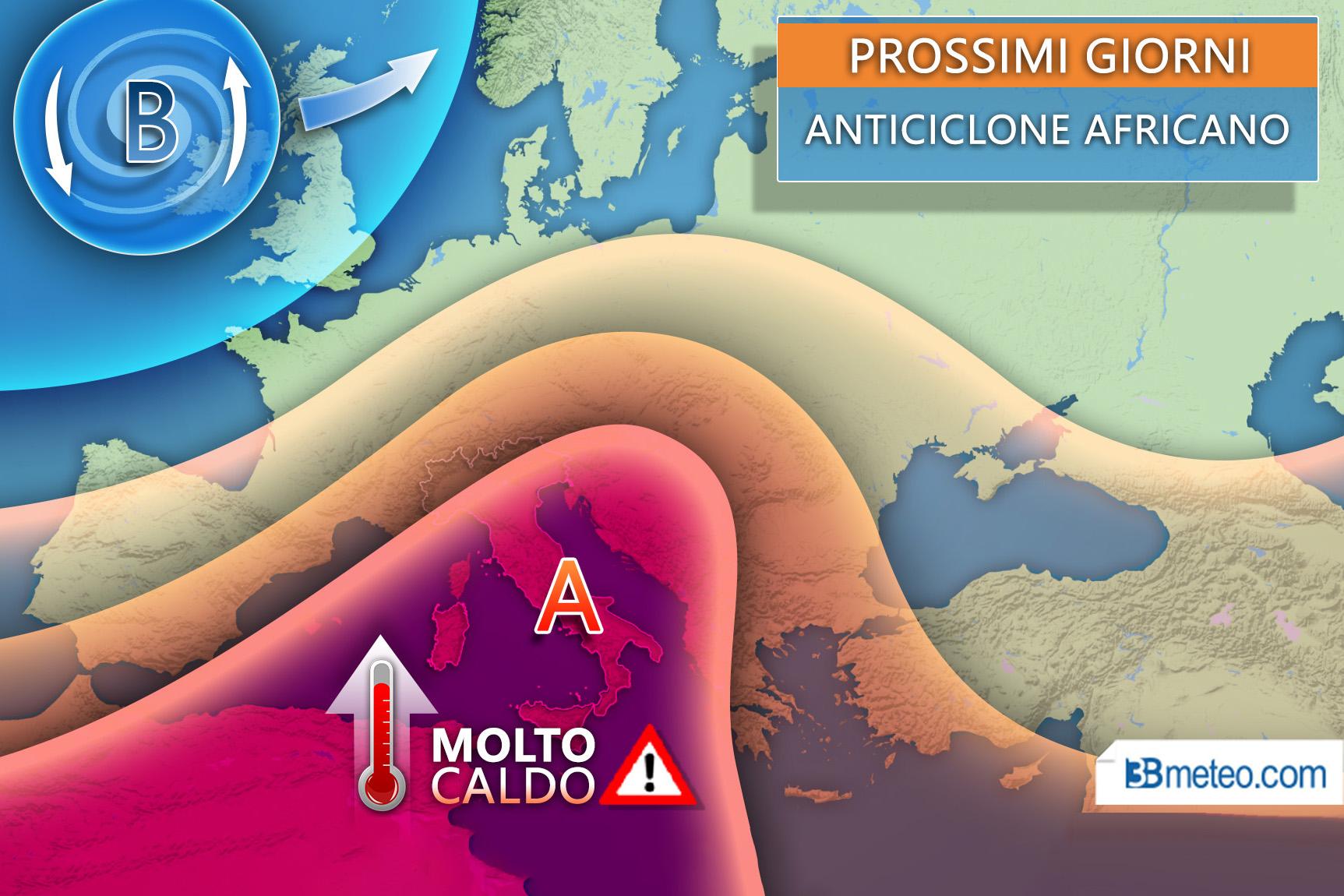 Prossimi giorni torna anticiclone africano