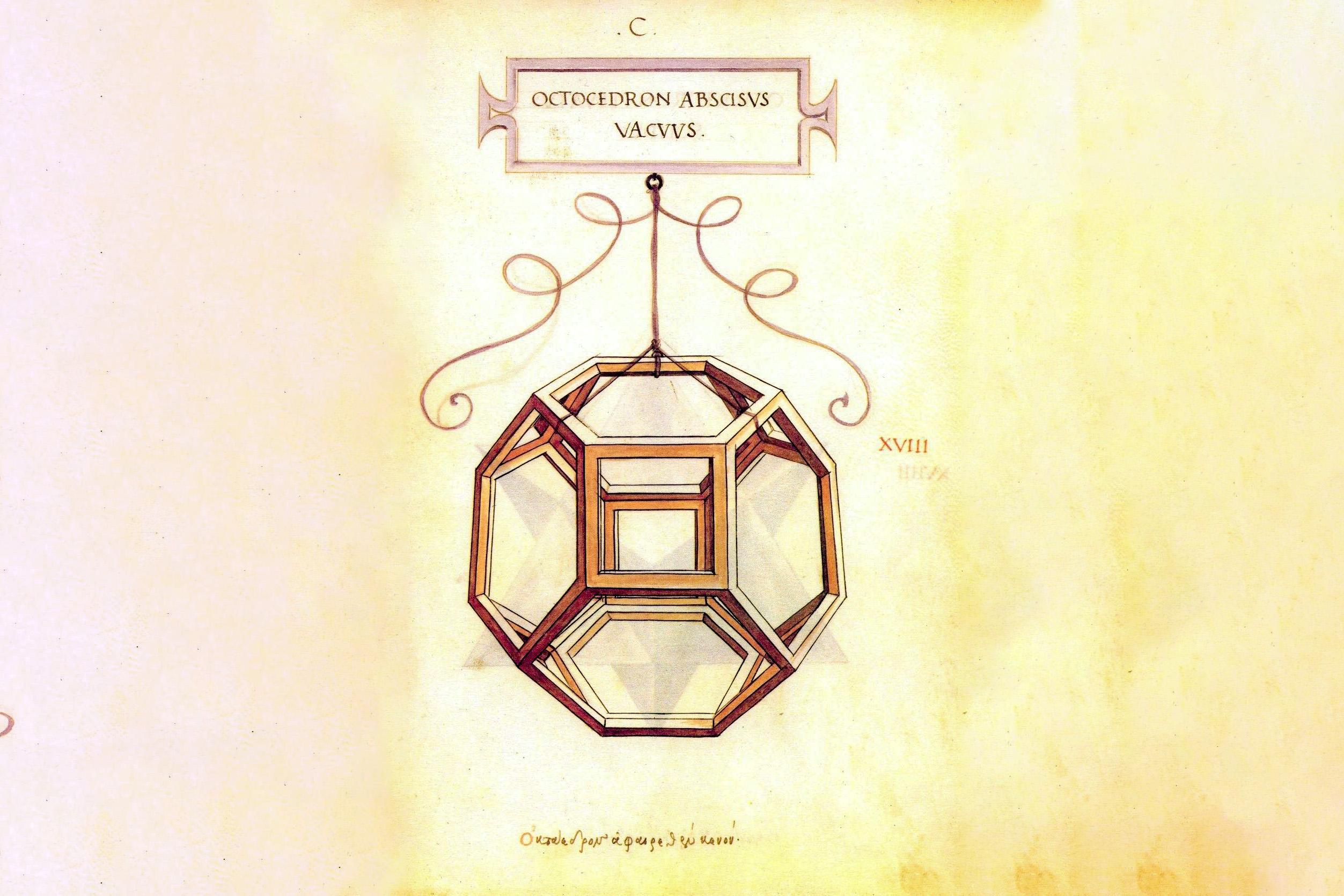 Ottaedro di Leonardo da Vinci per La divina proporzione di Luca Pacioli