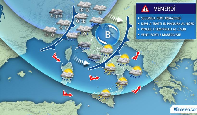 Venerdì italia meteo neve fronte