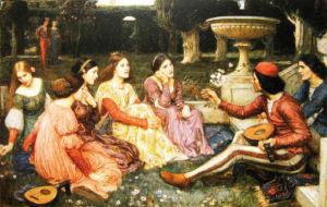 Una scena che illustra il Decameron di Giovanni Boccaccio