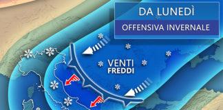 lunedì meteo italia neve freddo