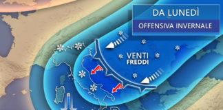 Freddo dalla Russia da domani (lunedì) con neve