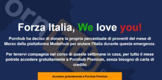 La schermata di pornhub dedicata agli italiani alle prese con il coronavirus