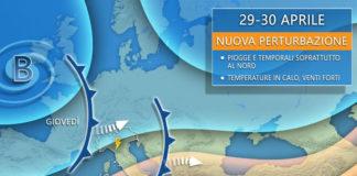 Meteo 29 e 30 aprile con nuova perturbazione e alta pressione pronta a rientrare sull'Italia