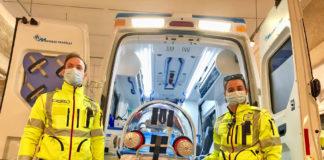 L'ambulanza con letto di rianimazione per pazienti Covid-19 della Misericordia di Prato