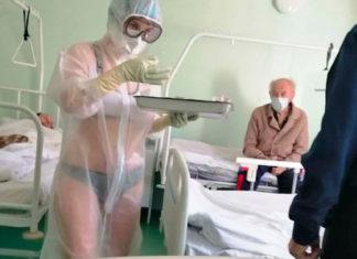 Infermiera russa in bikini nel reparto Covid-19