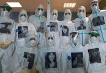 Gli infermieri di terapia intensiva di Prato con le loro foto sulla tuta