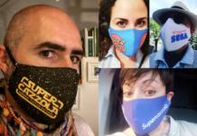 Quattro esempi di mascherine della supercazzola sul volto di due uomini e due donne