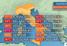 Le temperature massime di domenica