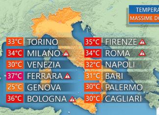 Le temperature massime di domenica