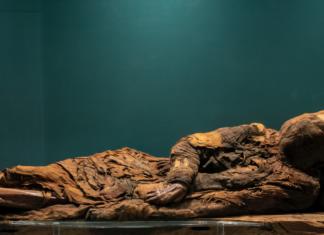 mummia della giovane donna con tunica plissettata