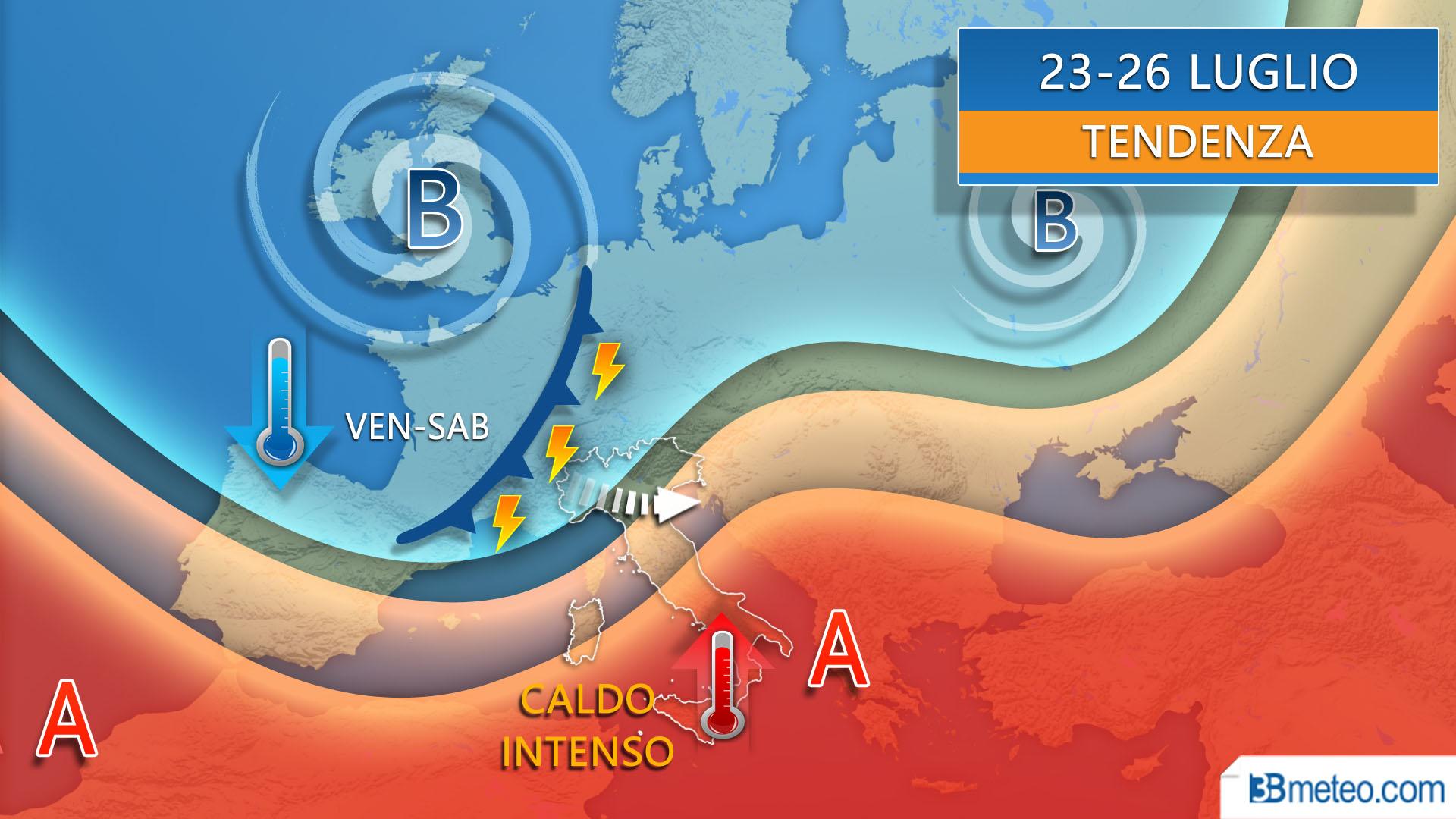 Previsioni meteo 23-26 luglio Italia