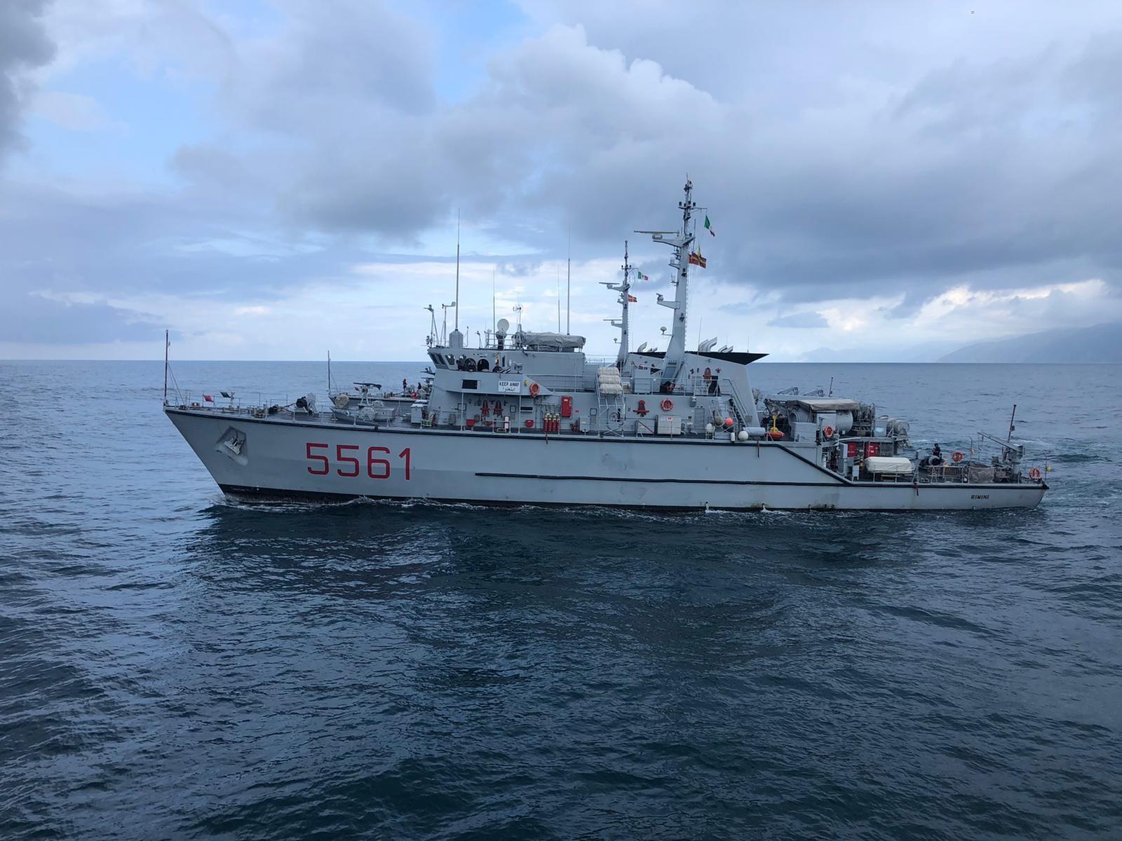 La nave Rimini della Marina Militare