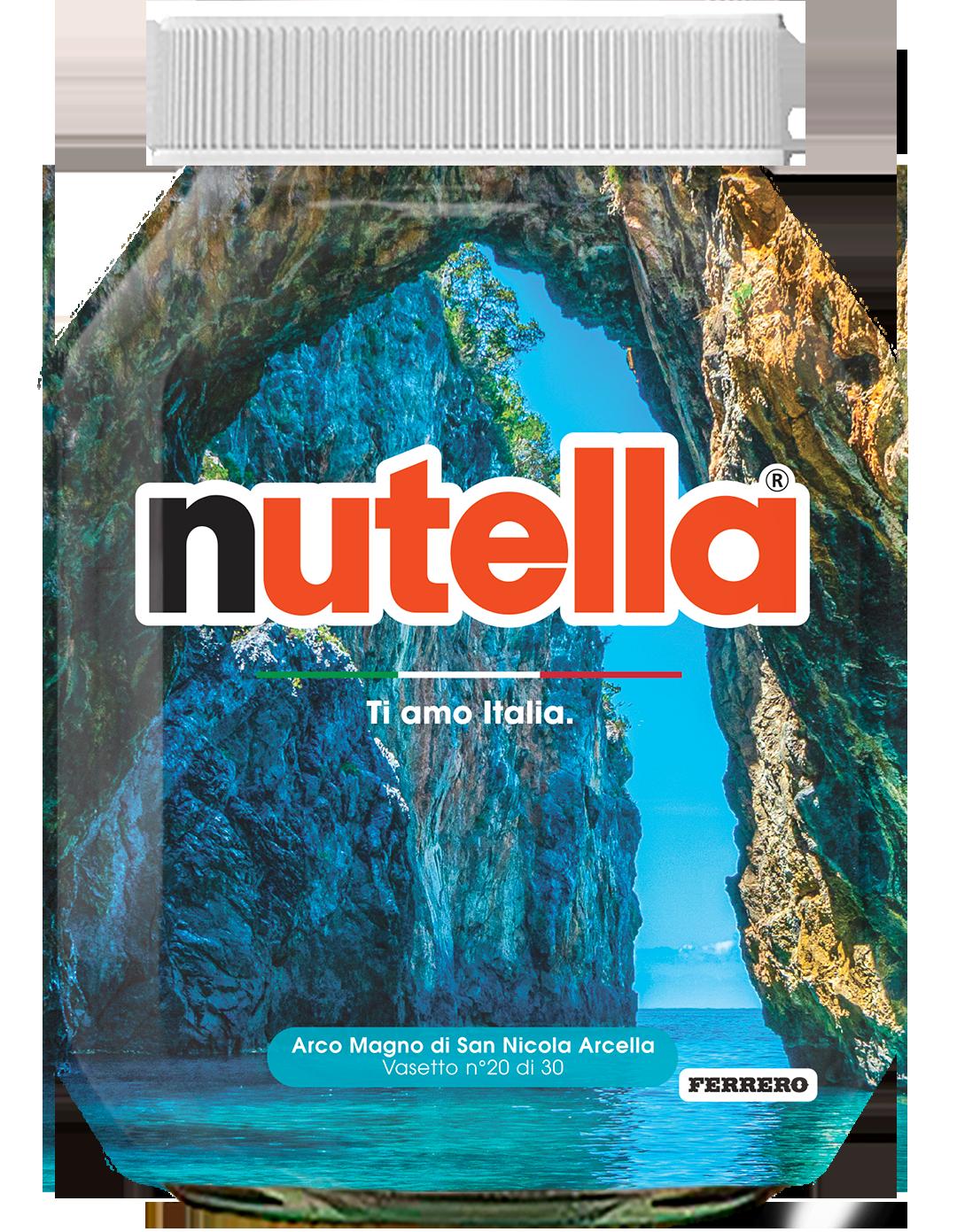 Calabria - Arco Magno di San Nicola Arcella - i vasetti di nutella dedicati all'italia
