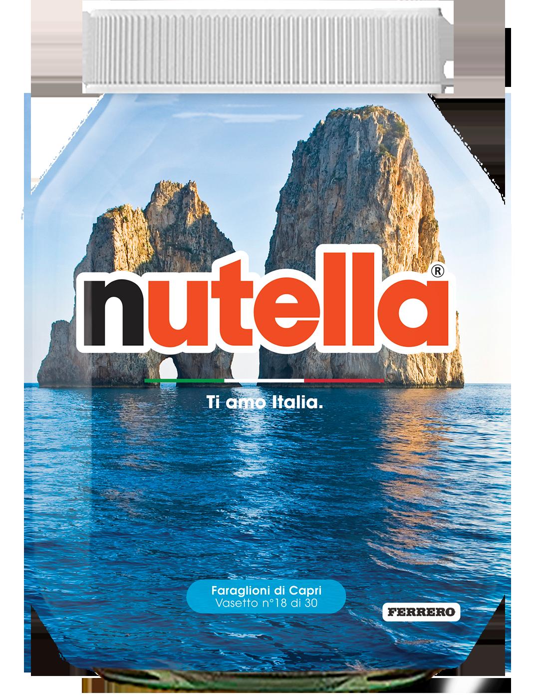 Campania - Faraglioni di Capri - i vasetti di nutella dedicati all'italia