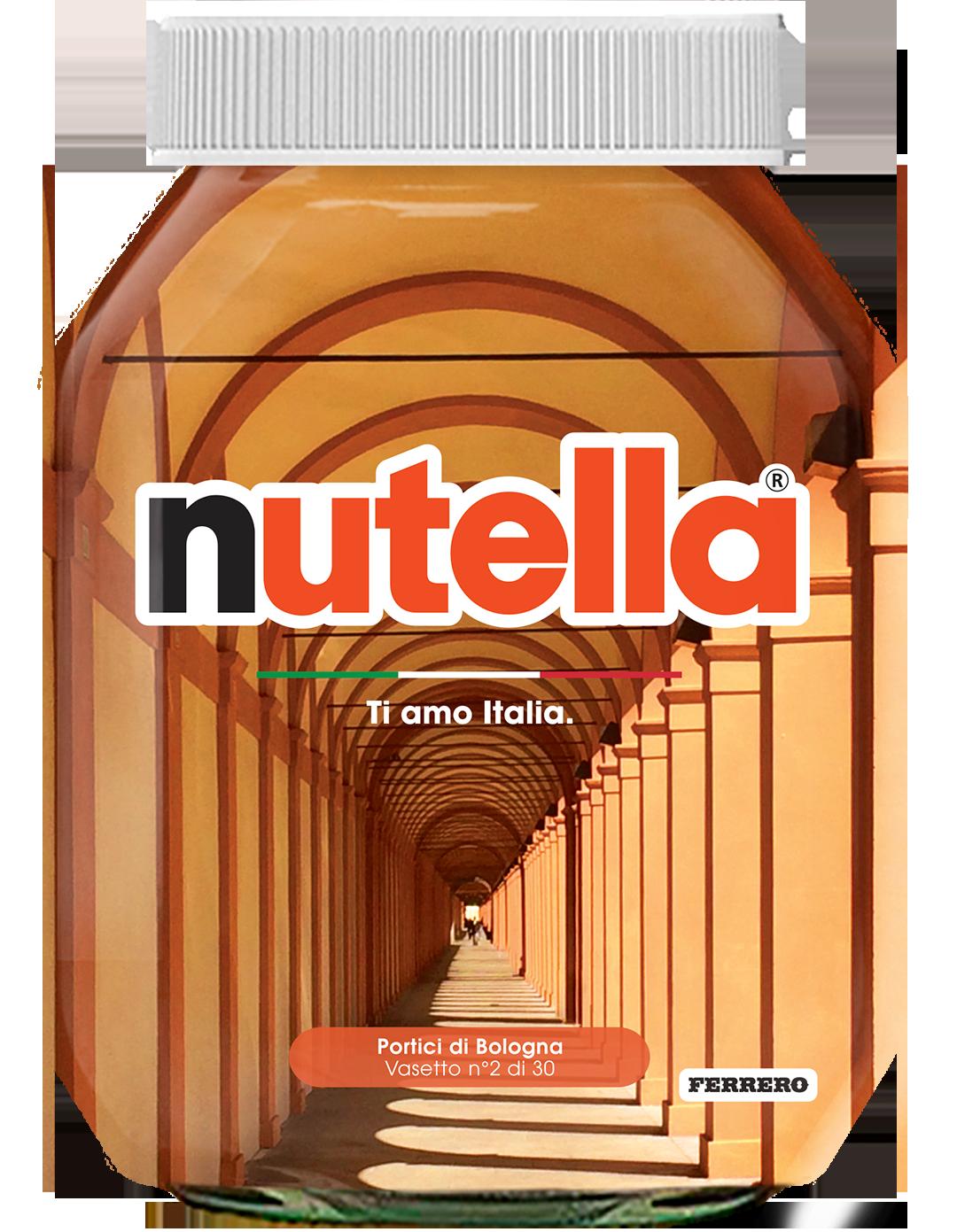 Emilia Romagna - Portici di Bologna - i vasetti di nutella dedicati all'italia