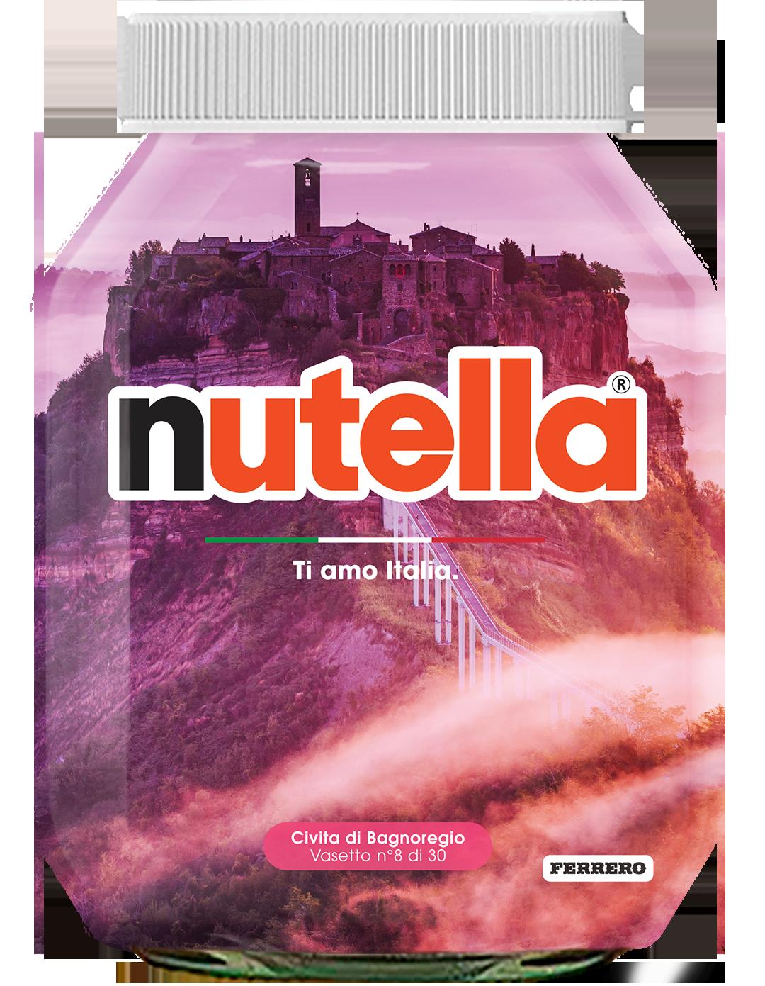 Lazio - Civita di Bagnoregio - i vasetti di nutella dedicati all'italia