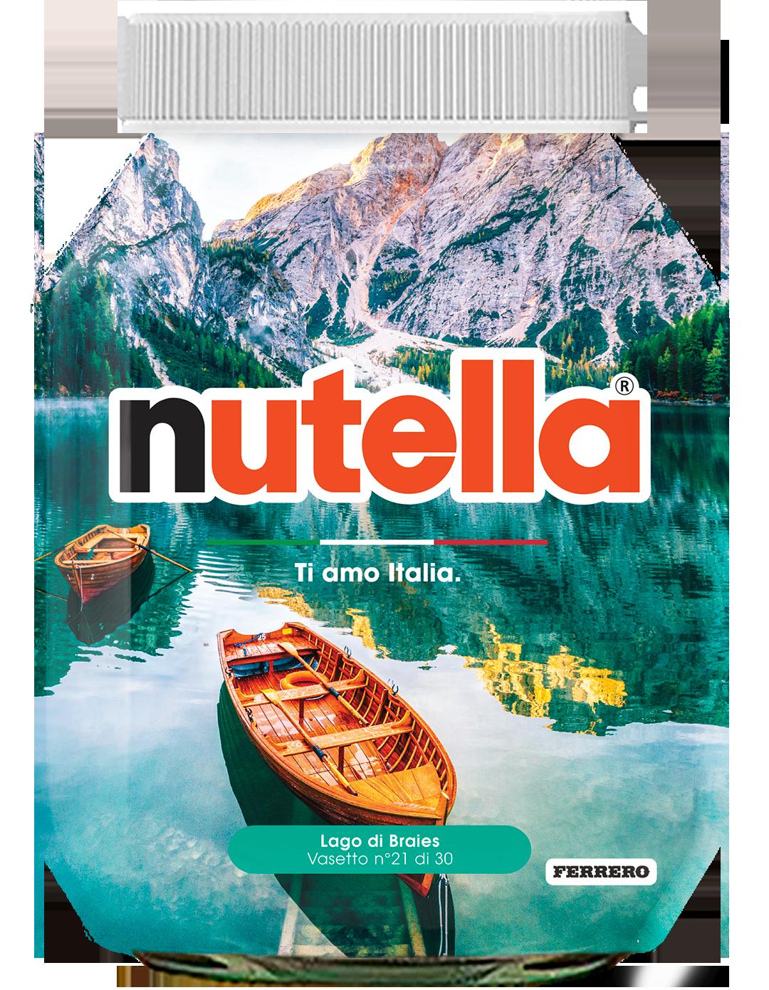 Trentino Alto Adige - Lago di Braies - i vasetti di nutella dedicati all'italia