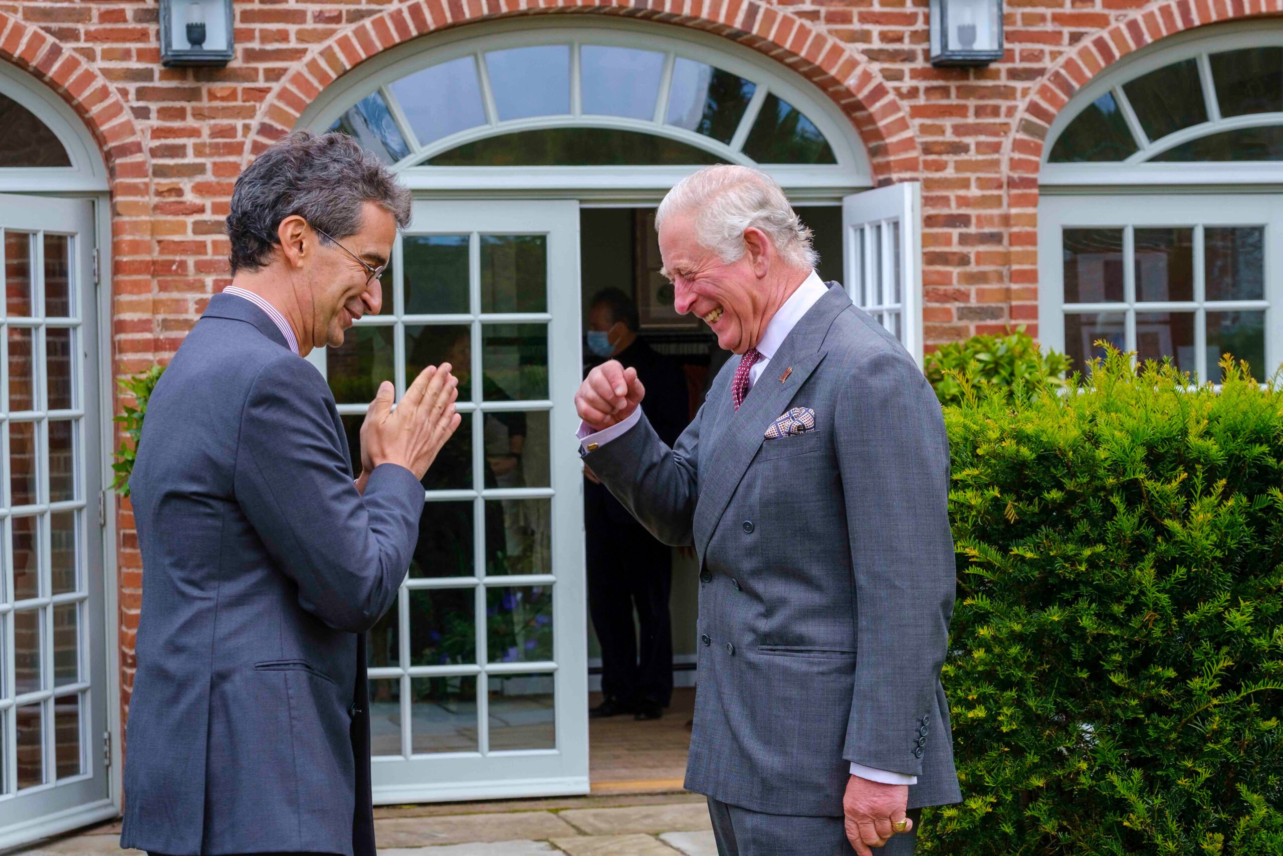 HRH The Prince of Wales & YOOX NET-A-PORTER Group Chairman and CEO Federico Marchetti at final collection review at Dumfries House in September 2020 - copyright Mike Wilkinson
