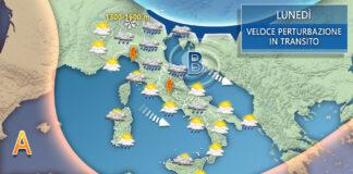 Lunedì Italia meteo tendenza
