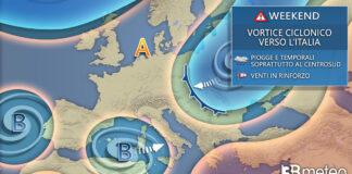 Weekend novembre peggioramento meteo italia con ciclone mediterraneo