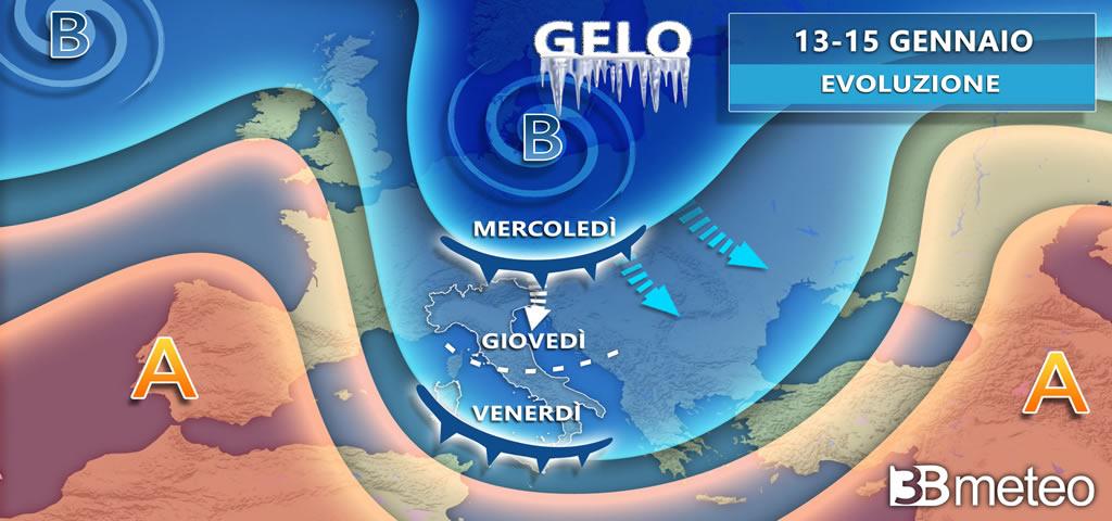La carta meteorologica sull'Italia