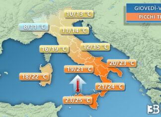 Temperature sull'Italia