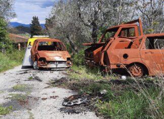 Rimozione auto bruciate a Carmignano
