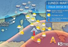 lunedì martedì meteo italia