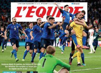 La prima pagina del quotidiano sportivo francese Equipe sulla vittoria dell'Italia